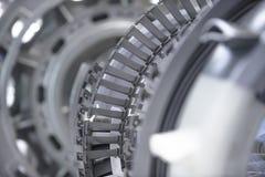 涡轮发动机 航空技术 航空器在博览会的喷气机引擎细节 被定调子的蓝色 免版税库存图片