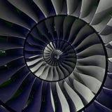涡轮叶片飞过螺旋作用摘要分数维样式背景 螺旋工业生产金属涡轮背景 库存照片