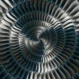 涡轮叶片飞过螺旋作用摘要分数维样式背景 螺旋工业生产金属涡轮背景 库存图片