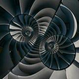 涡轮叶片飞过超现实的螺旋作用摘要分数维样式背景 螺旋工业生产金属涡轮后面 库存图片