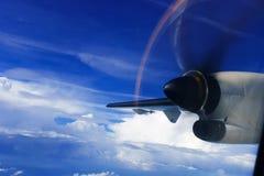 从涡轮螺旋桨发动机航空器的看法 库存照片