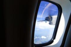 从涡轮螺旋桨发动机航空器的看法 免版税库存图片