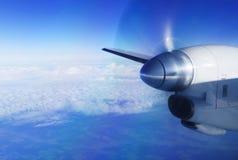 从涡轮螺旋桨发动机航空器的看法 免版税库存照片