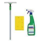 洗涤剂、海绵和刮板 库存图片