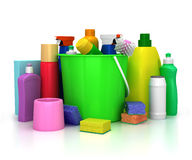 洗涤剂瓶和化学制品 库存例证
