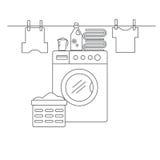 洗涤和烘干的项目洗衣房 有洗衣机、亚麻布和洗衣店设施的洗衣房 库存例证