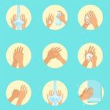 洗涤序列指示, Infographic适当的手洗涤做法的卫生学海报的手 图库摄影