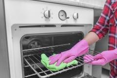 洗涤烤箱的里面 库存图片