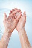 洗涤的手卫生学 免版税图库摄影