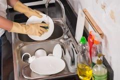 洗涤的盘 免版税库存照片