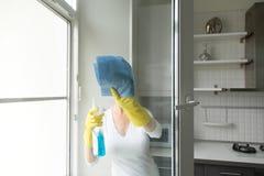 洗涤窗口的少妇 免版税库存图片