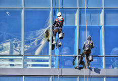 洗涤Windows的高空作业的建筑工人 免版税库存图片