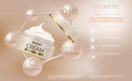 润湿的化妆产品广告,与美丽的容器的明亮的背景 皇族释放例证