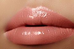 润湿的唇膏,唇膏 特写镜头美丽的性感的湿嘴唇 有光泽构成的充分的嘴唇 补白射入 免版税库存照片