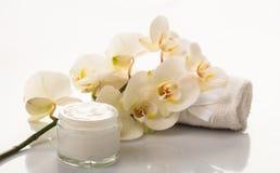 润湿的奶油和兰花在白色背景 库存图片