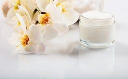 润湿的奶油和兰花在白色背景 库存照片