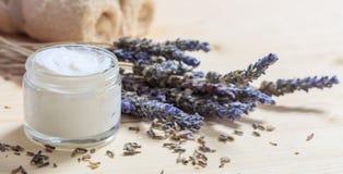 润湿的奶油和淡紫色 免版税库存照片