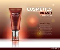 润湿的血清或胶凝体化妆广告模板 水合的面孔化妆水或bronzer 大模型3D现实例证 向量例证