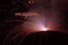 涨潮核心导线电弧焊接是多数人口在焊接过程中 库存图片