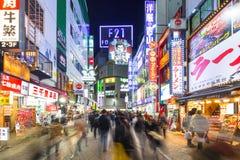 涩谷争夺横穿在东京在晚上,日本 图库摄影