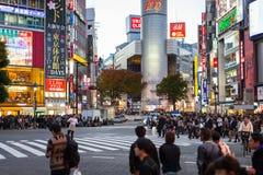 涩谷争夺横穿在黄昏的东京,日本 库存照片