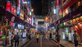 涩谷夜视图在东京 免版税库存图片