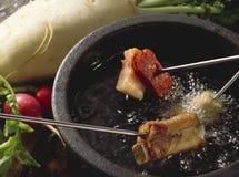 涮制菜肴肉 库存照片