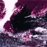 液体丙烯酸漆,液体艺术品,与色的被绘的细胞,污点的抽象五颜六色的背景 洋红色和蓝色 免版税库存图片