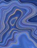 液体大理石纹理 蓝色和金黄闪烁墨水绘画摘要样式 墙纸的,飞行物,海报,卡片时髦背景 向量例证