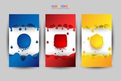 液体彩色组,作为背景的各种各样的颜色 向量例证