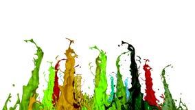 液体油漆飞溅在音乐报告人的 3d在4k的动画 8 影视素材