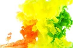 在行动抽象的液体颜色 免版税图库摄影