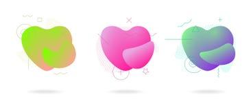液体颜色抽象几何形式爱心形集合 流动现代塑料抽象五颜六色的波浪 动态颜色 库存例证
