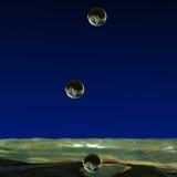 水滴液体,水两滴形成了一个小专栏 免版税图库摄影