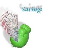 液化对河马银行的卢比笔记或金钱作为储款 图库摄影