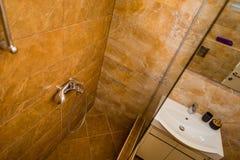 淋浴喷头在卫生间里 库存图片