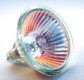 淡桔色蓝色电灯泡的卤素 库存照片