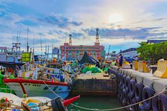 淡水厅fishermans码头船坞 库存照片