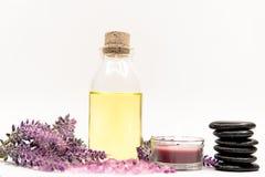 淡紫色与岩石和蜡烛的芳香疗法温泉 泰国温泉放松治疗和按摩白色背景 库存图片