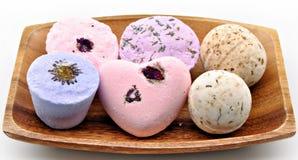 淡紫色六块肥皂 免版税库存照片
