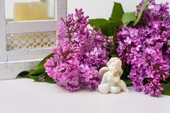 淡紫色开花和天使雕塑静物画在白色的 库存照片