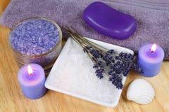 淡紫色放松温泉 库存图片
