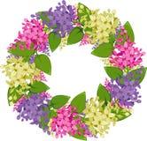 淡紫色枝杈向量花圈 免版税库存照片