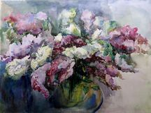淡紫色水彩艺术背景五颜六色的花 库存照片