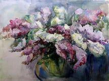 淡紫色水彩艺术背景五颜六色的花 免版税图库摄影