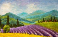淡紫色紫色领域绘画 意大利夏天乡下 法语托斯卡纳 黄色黑麦的领域 农村房子和高柏tre 免版税库存图片