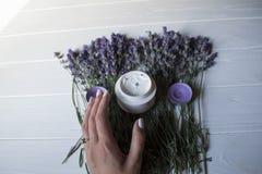 淡紫色花、蜡烛、奶油和女性手在白色木背景 库存图片