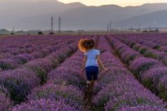 淡紫色领域的妇女 免版税库存照片