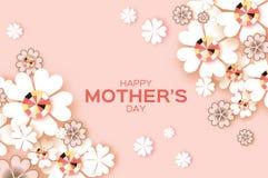 淡色愉快的母亲节 精采石头 白皮书刻花 菱形框架 库存图片