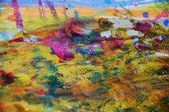 淡色生动的蜡状的斑点染黄紫罗兰色桃红色背景,抽象纹理 免版税图库摄影